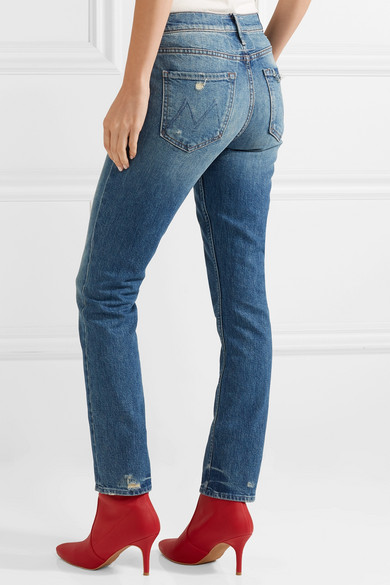 Mother The Flirt Chew Jeans mit schmalem Bein in Distressed-Optik Billig Verkauf Nicekicks Empfehlen If2CUixzL