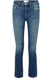 Mother The Flirt Chew distressed mid-rise slim-leg jeans