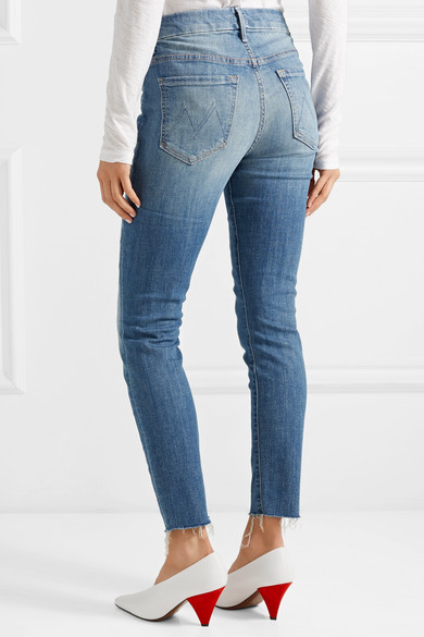 Mother Looker verkürzte, hoch sitzende Skinny Jeans mit Fransen