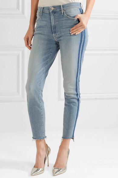 Mother The Stunner hoch sitzende, verkürzte Skinny Jeans mit Streifen und Fransen