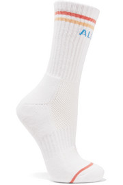 Mother Intarsia ribbed stretch cotton-blend socks
