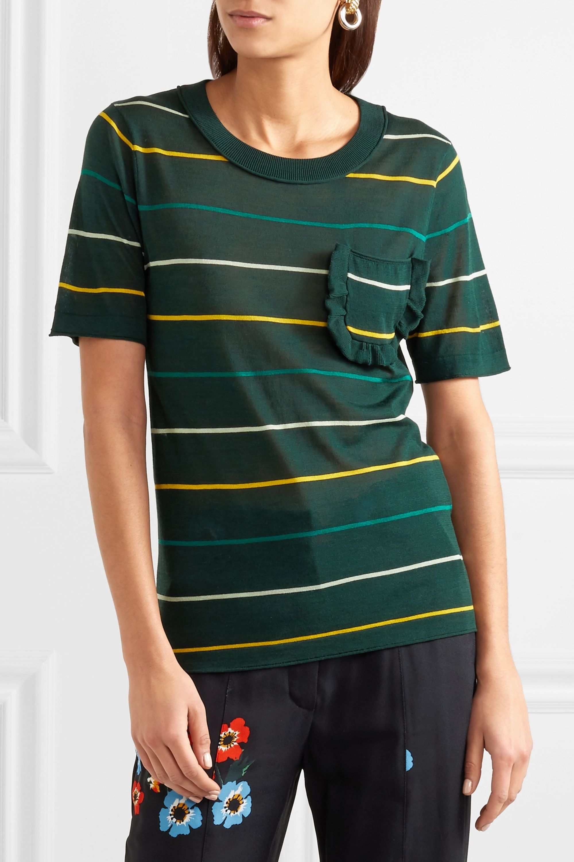 Sonia Rykiel Ruffle-trimmed striped silk and cotton-blend top