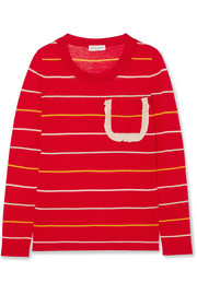 Sonia Rykiel Ruffle-trimmed striped silk and cotton-blend sweater