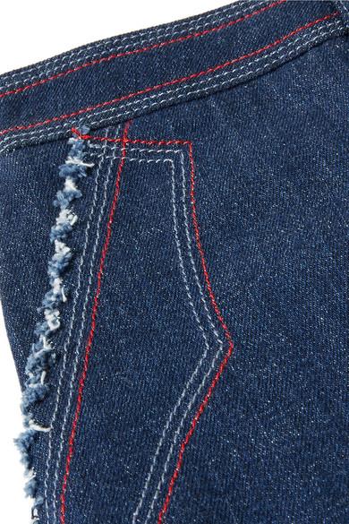 Sonia Rykiel Verkürzte, hoch sitzende Jeans mit weitem Bein in zweifarbiger Optik