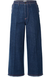 Two-tone cropped high-rise wide-leg jeans