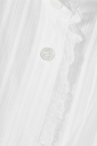 Sonia Rykiel Hemd aus Baumwoll-Sateen mit Spitzenbesatz