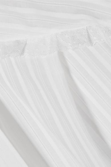 Sonia Rykiel Bluse aus gestreifter Baumwollpopeline mit Rüschen aus Tüll mit Point d'Esprit