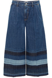 Sonia Rykiel Striped cropped mid-rise wide-leg jeans