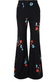 Printed crepe flared pants
