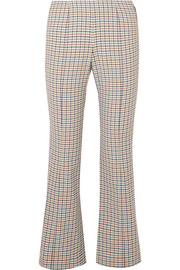 Studded checked woven flared pants