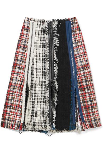 Sonia Rykiel Karierter Rock aus Tweed aus einer Baumwollmischung mit Fransen