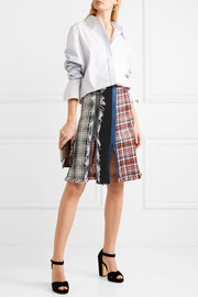 Sonia Rykiel Frayed checked cotton-blend tweed skirt