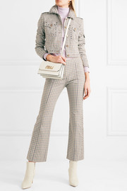 Cropped studded checked woven jacket