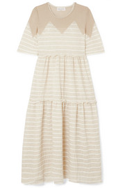 Sonia Rykiel Tiered striped metallic stretch-knit midi dress