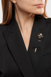 Alexander McQueen Gold-tone, Swarovski crystal and faux pearl brooch