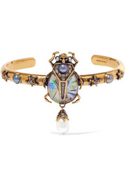 Alexander McQueen Gold-plated, crystal, faux pearl and resin cuff