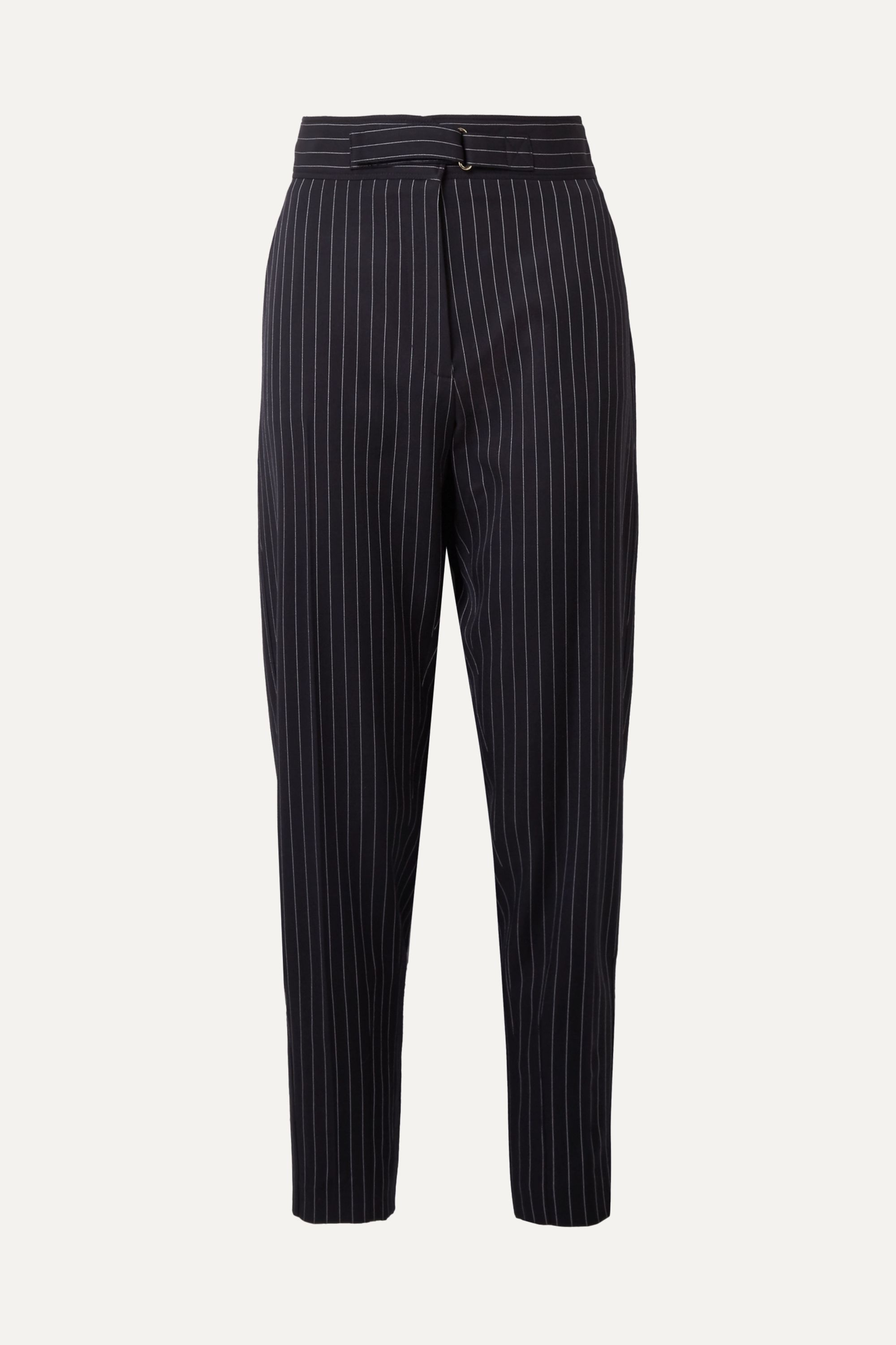Stella McCartney Kassidy belted pinstriped wool-blend tapered pants