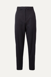Kassidy belted pinstriped wool-blend tapered pants