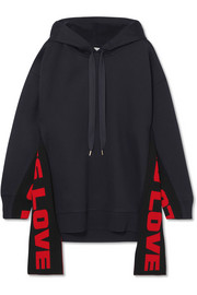 Stella McCartney Oversized paneled cotton-blend jersey hooded top
