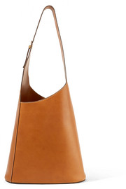 Asymmetric leather shoulder bag