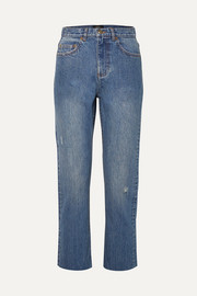 Standard distressed high-rise straight-leg jeans