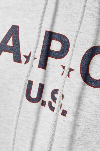 A.P.C. Atelier de Production et de Création Bedrucktes Kapuzenoberteil aus Frottee aus einer Baumwollmischung