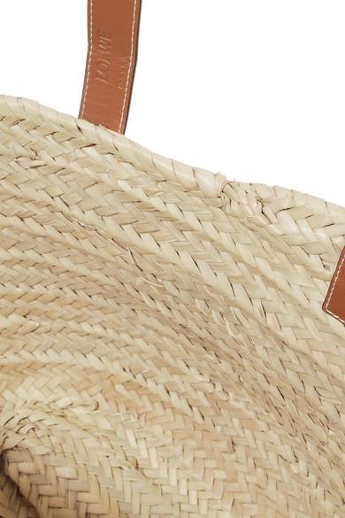 Loewe Große gewebte Tote aus Raffiabast mit Lederbesatz