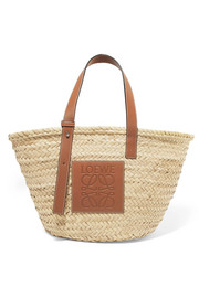 Large leather-trimmed woven raffia tote