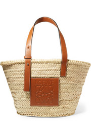 Medium leather-trimmed woven raffia tote