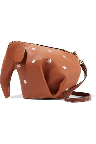 Loewe Elephant bedruckte Schultertasche aus Leder