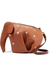 Elephant printed leather shoulder bag