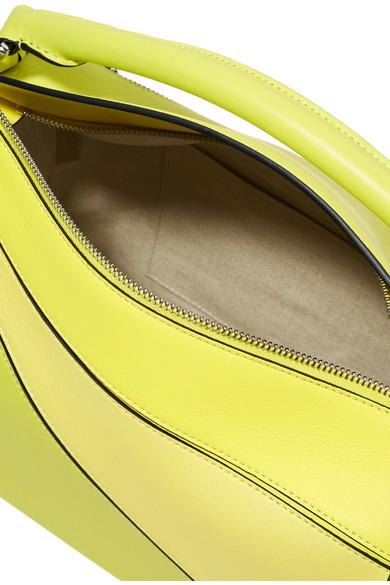 Loewe Puzzle kleine Schultertasche aus strukturiertem Leder in Colour-Block-Optik