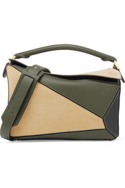 Loewe Puzzle color-block suede and leather shoulder bag