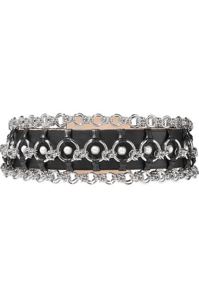Chain And Faux Pearl Embellished Leather Belt - Black Balmain CFmFbTel