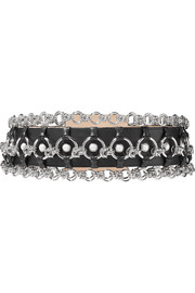 Chain and faux pearl embellished leather belt