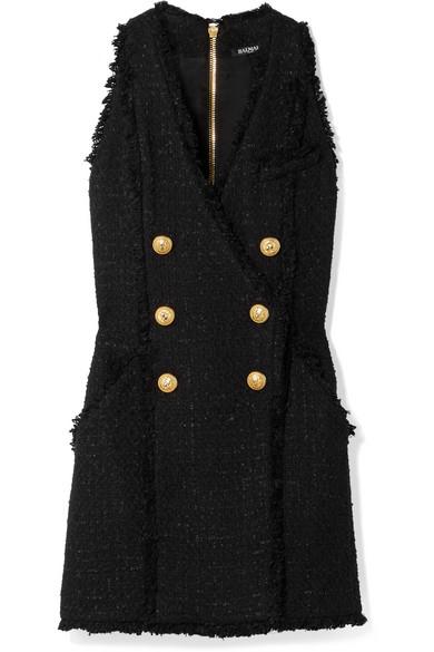 Balmain Doppelreihiges Minikleid aus Tweed mit Wickeleffekt