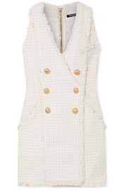 Balmain Double-breasted wrap-effect tweed mini dress