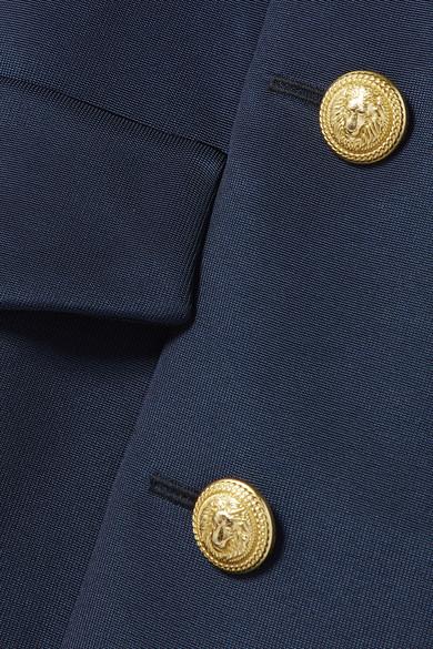 Balmain Minikleid aus Crêpe de Chine und glänzendem Twill mit Knopfdetails und Wickeleffekt