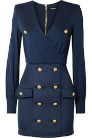Balmain Button-embellished wrap-effect crepe de chine and satin-twill mini dress
