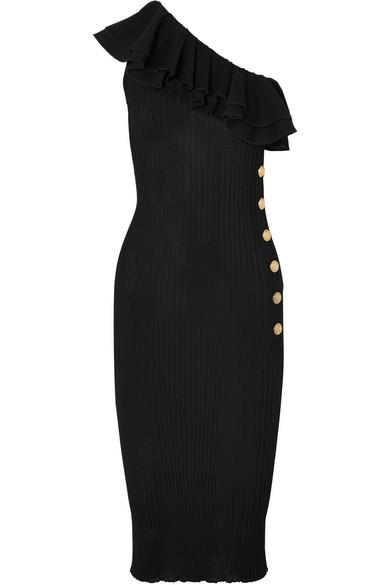 Ruffled One-shoulder Cotton-blend Lace Mini Dress - Black Dundas Outlet Shopping Online Or2DwaAIE