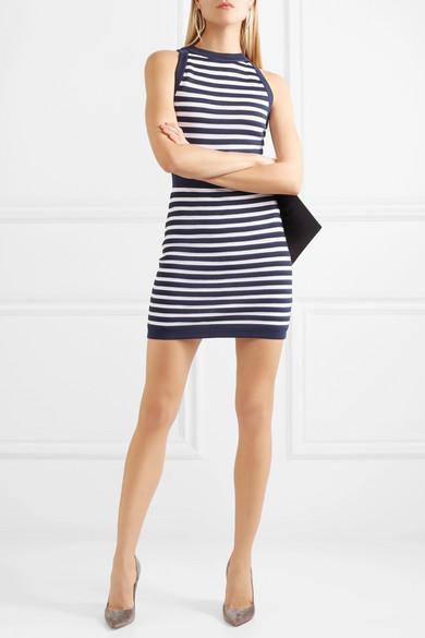 Balmain Gestreiftes Minikleid aus Stretch-Strick
