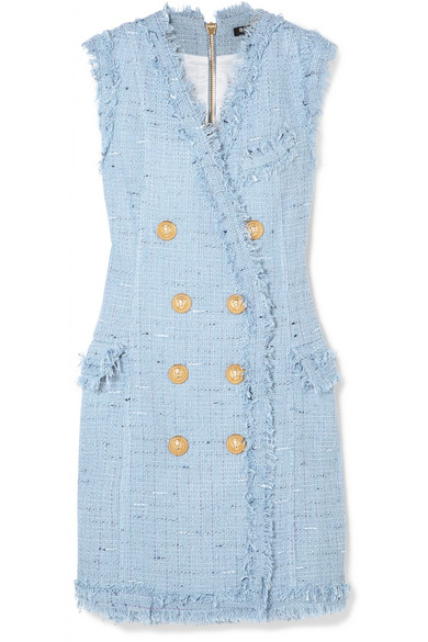 Balmain Minikleid aus einer Baumwollmischung mit Fransen