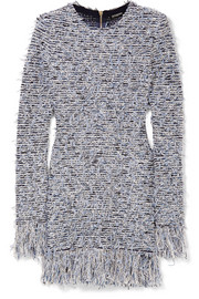Balmain Frayed stretch-tweed mini dress
