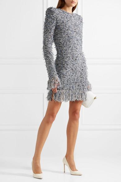 Balmain Minikleid aus fransigem Stretch-Tweed
