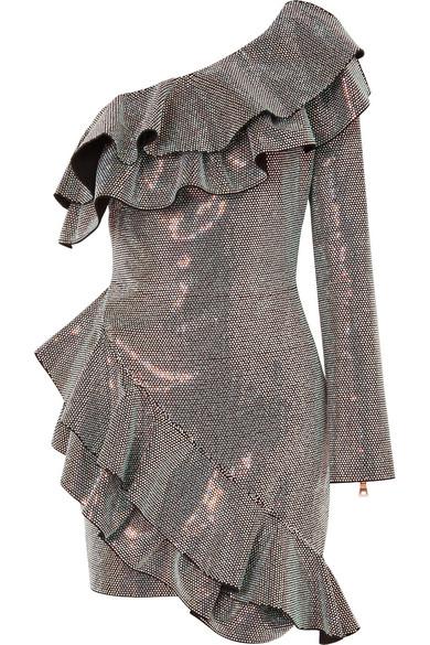 Balmain Gerüschtes Minikleid aus Crêpe mit asymmetrischer Schulterpartie und Kristallen