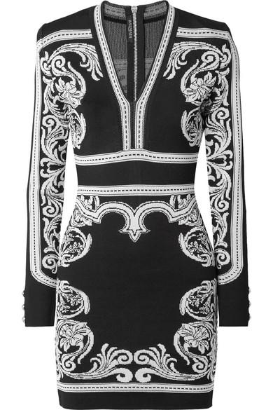 Balmain Minikleid aus Jacquard-Strick Auslass Offizielle Seite 1EWxI