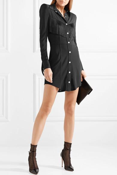 Mini-robe En Crêpe Stretch Balmain Avec Franges