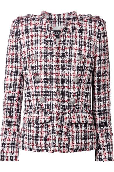 Balmain Blazer aus Tweed mit Fransenkanten