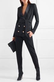 Belted double-breasted crepe blazer