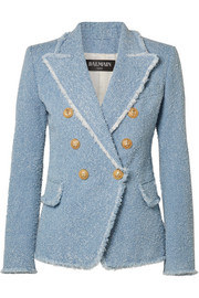 Balmain Double-breasted cotton-blend bouclé-tweed blazer